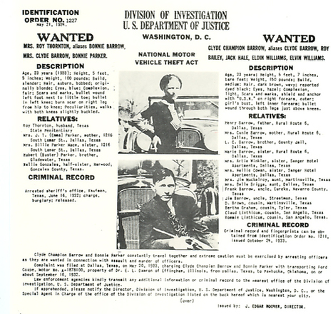 Identification Order No.1227 Bonnie and Clyde | Deejay's Crime of the 1930's | Scoop.it