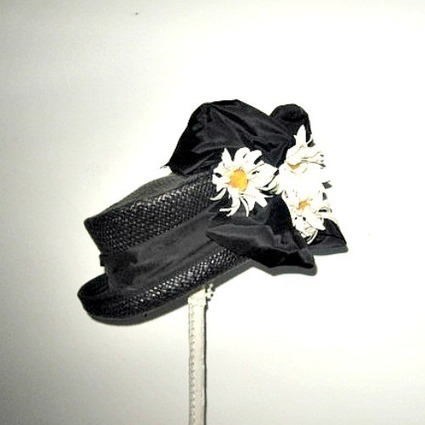 Black 1940s vintage tilt hat with a large bow and flowers - The Vintage Village | Vintage Passion | Scoop.it