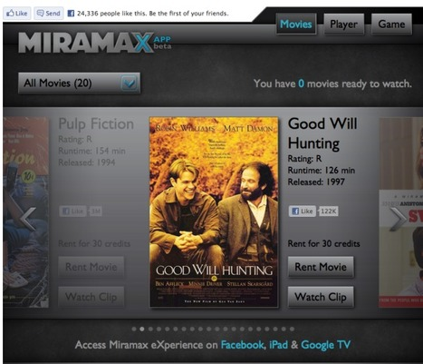 Coming to a Facebook near you: Miramax movie rentals | Social Engagement | Scoop.it
