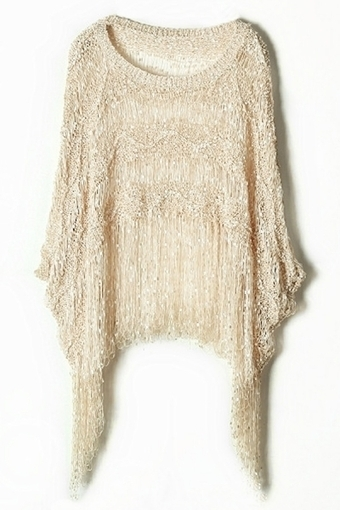 Whole Color Tassel Draped Sweater - OASAP.com | Street Fashion | Scoop.it