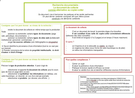 Le document de collecte : une alternative au copier-coller - | Le document de collecte | Scoop.it