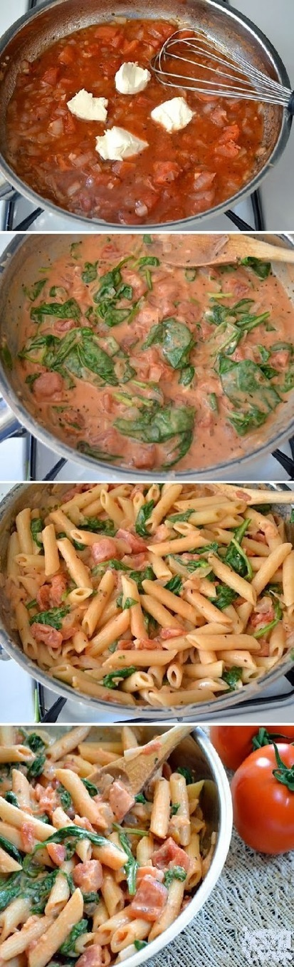 Food & Drink: Creamy Tomato & Spinach Pasta   food and drink   Scoop.it