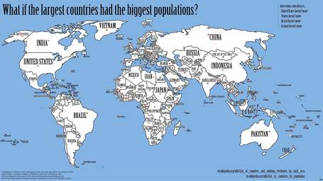 Map: What if the largest countries had the biggest populations? | Walkerteach Geo | Scoop.it