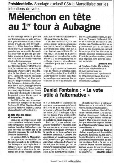 MELENCHON EN TETE AU PREMIER TOUR A AUBAGNE | PRENEZ LE POUVOIR ! | Scoop.it