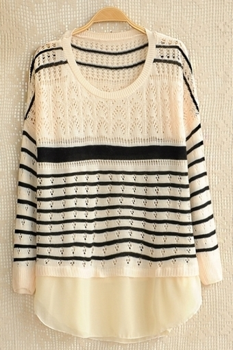 Chiffon Paneled Cross Striped Sweater - OASAP.com | Sweaters and Cardigans | Scoop.it