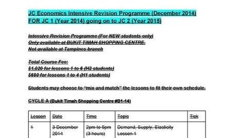 Economics Intensive Revision Programme is organized for JC 1 students | JC Economics Tuition Centre | Scoop.it