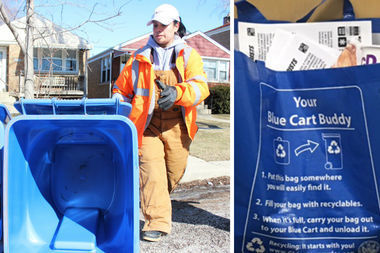 """Streets & San is piloting the use of a """"blue cart buddy"""" bag to boost recycling participation 