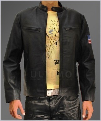 Slim Fit Bomber Vintage Black Mens Leather Jacket Sword Fish w/ US Flag   You like leather jackets since nobody ignored it   Scoop.it