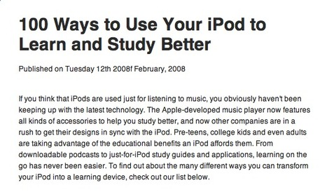 100 Ways to Use Your iPod to Learn and Study Better | OEDb | Technology and Education | Scoop.it