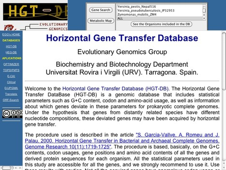 HGT-DB - a database of putative horizontally transferred genes in prokaryotic complete genomes | bioinformatics-databases | Scoop.it