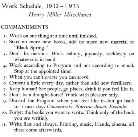 Henry Miller's 11 Commandments of Writing & Daily Creative Routine | Creative writing (books and screenplays) | Scoop.it