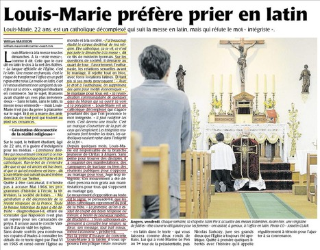 Louis Marie, synpathisant angevin de Civitas. Courrier de l'Ouest; 21 avril. | Civitas | Scoop.it