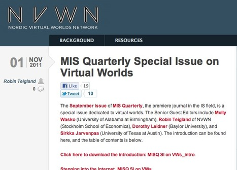 MIS Quarterly Special Issue on Virtual Worlds | Digital Delights - Avatars, Virtual Worlds, Gamification | Scoop.it