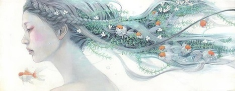 Delicate Japanese Oil Paintings of Ethereal Woman Submerged with Nature | Esthétique - santé - food - fashion | Scoop.it
