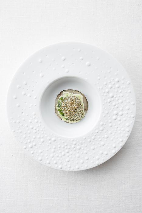 Carpaccio de bar tiède, persil brûlé Bas beurre au caviar - Olivier NASTI | Gastronomy & Wines | Scoop.it