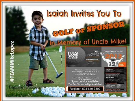 Isaiah Invites you to GOLF or SPONSOR In Memory of Uncle Mike! | T.E.A.M. Cure ALS Foundation 7th Annual Memorial Golf Tournament | #ALS AWARENESS #LouGehrigsDisease #PARKINSONS | Scoop.it