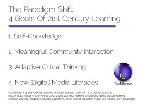 The Paradigm Shift: 4 Goals Of 21st Century Learning - TeachThought | Bibliotecas Escolares. Disseminação e partilha | Scoop.it