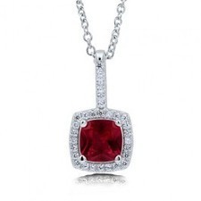 BERRICLE - Cushion Cut Ruby Cubic Zirconia Sterling Silver Halo Pendant Necklac | Berricle Necklaces | Scoop.it
