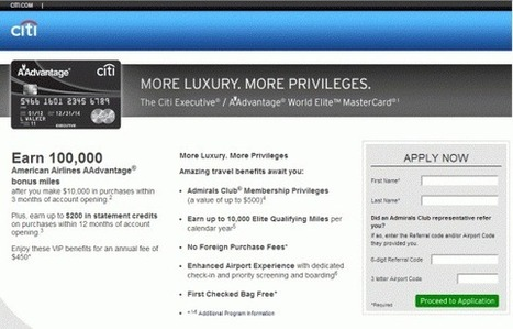 HOT DEAL ALERT: 100,000 BONUS MILES FOR CITI EXECUTIVE AADVANTAGE WORLD MASTERCARD | Miles Momma | BEST CREDIT CARD | Scoop.it