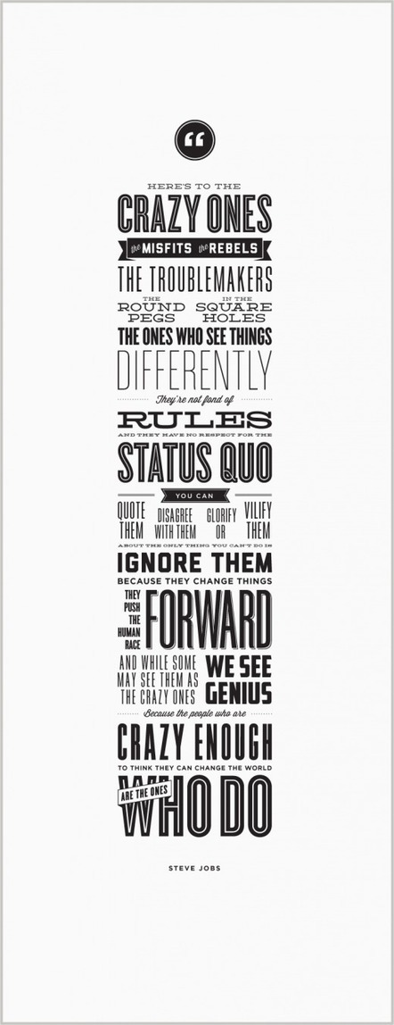 """""""Here's to the crazy ones"""" gets its own beautiful, letterpress poster to benefit charity 