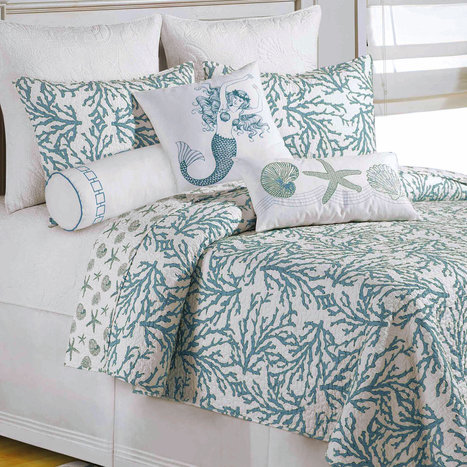 Cora Turquoise Coral Coastal Quilt Bedding | Blue and White Bedding | Scoop.it