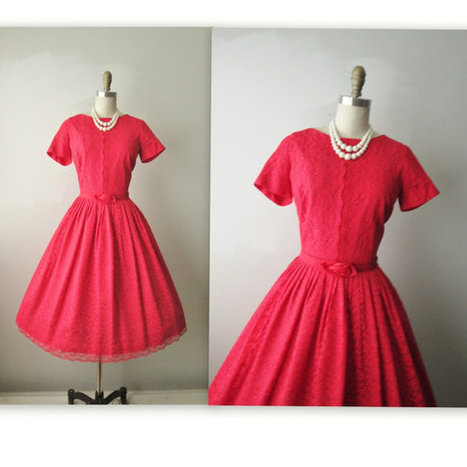 50's Red Lace Dress | BeautifulWay | Scoop.it