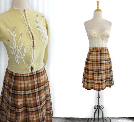 Vintage 1960s short check wool skirt - vintage short skirt - wool skirt | DustyDesert vintage | Scoop.it