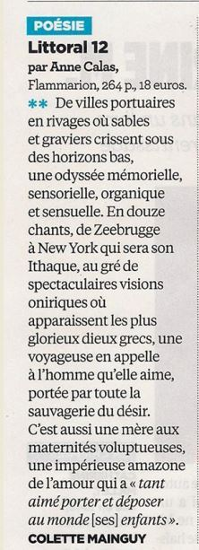 Littoral 12, d'Anne Calas, dans le Nouvel Observateur | Poetry | Scoop.it