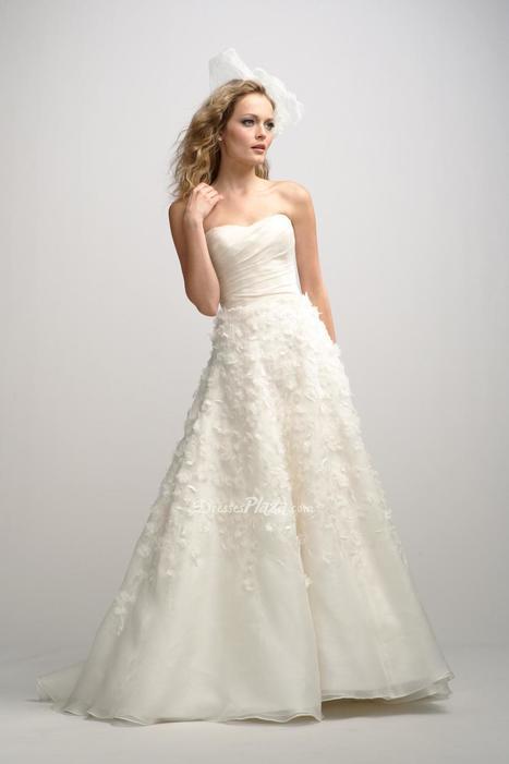 Organza Strapless Natural Waist Embroidered Flower on A-line Skirt Wedding Dress | Designer Bridesmaid Dress 2014 | Scoop.it