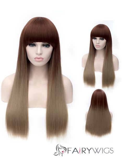 Youthful Long Straight Brown Full Bang Synthetic Hair Wigs : fairywigs.com | Synthetic Hair Wigs | Scoop.it