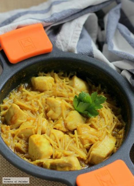 Fideos encebollados con pollo al curry. Receta   Mis recetas favoritas   Scoop.it