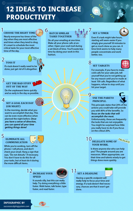 12 Ideas to Increase Productivity | Visual.ly | Visualisation | Scoop.it