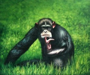 Real Handmade Thinking Gorilla Oil painting | Oil paintings Gallery | Scoop.it