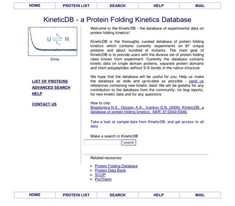 KineticDB - A Protein Folding Kinetics Database | bioinformatics-databases | Scoop.it
