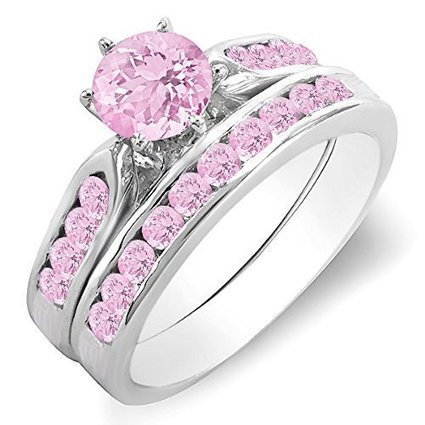 1.00 Carat (ctw) 14K White Gold Round Pink Sapphire Ladies... | Jewelry Mall | Scoop.it