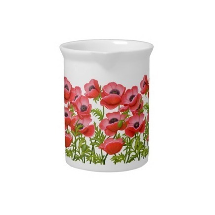 Red Garden Poppy Flowers Pitcher from Zazzle.com | Teapots & Pitchers | Scoop.it