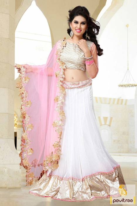 White Light Pink Georgette Net Party Wear Saree   Pavitraa   Scoop.it
