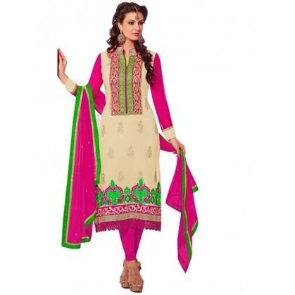 Enticing Cream Georgette Party Wear Churidar Kameez | Designer Salwar Kameez | Party Wear Salwar Kameez | Bollywood Churidar Salwar Kameez | Scoop.it