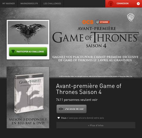 Avant-première Game of Thrones saison 4 : à vous de jouer sur #AVPGOT - AVCesar.com | Avant-première Game of Thrones S4 | Scoop.it