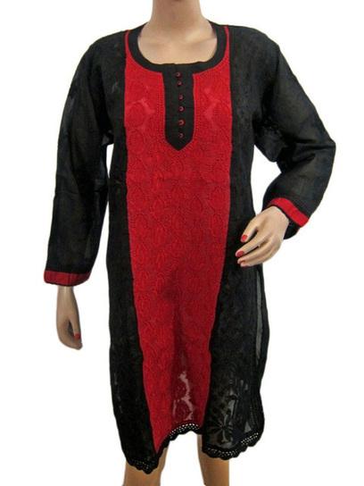 Black Indian Kurti, Embroidered Cotton Long Kurti Tunic | Sarees kurtis Jewellery | Scoop.it