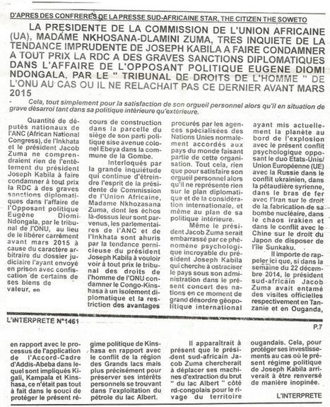LA PRESIDENTE DE L'UA, DLAMINI ZUMA, INQUIETE DE LA TENDANCE IMPRUDENTE DE JOSEPH KABILA A FAIRE CONDAMNER LA RDC A DES GRAVES SANCTIONS DIPLOMATIQUES DANS L'AFFAIRE DE L'OPPOSANT POLITIQUE EUGENE ... | EUGENE DIOMI NDONGALA, PRISONNIER POLITIQUE EN RDC | Scoop.it