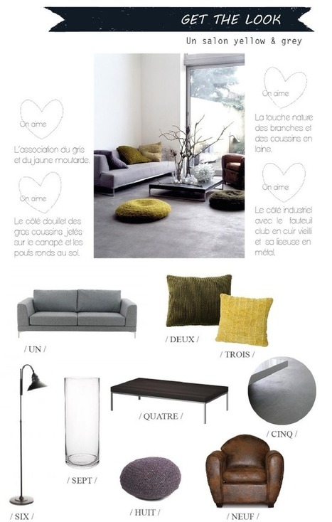 { Get the look } Un salon douillet en gris et jaune | décoration & déco | Scoop.it
