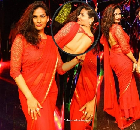 Tia Khalifa in Red Saree with Netted Backless Blouse   Indian Fashion Updates   Scoop.it
