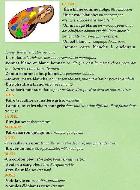 Expressions avec les couleurs | Remue-méninges FLE | Scoop.it