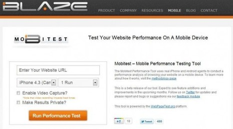 Tester la vitesse de chargement de son site sur un appareil mobile, Mobitest | Time to Learn | Scoop.it