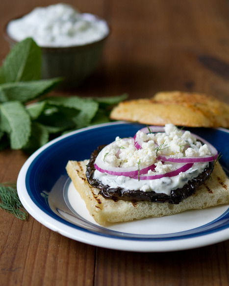 Greek Grilled Portabello Sandwich with Tzatziki and Feta   a Couple Cooks   À Catanada na Cozinha Magazine   Scoop.it