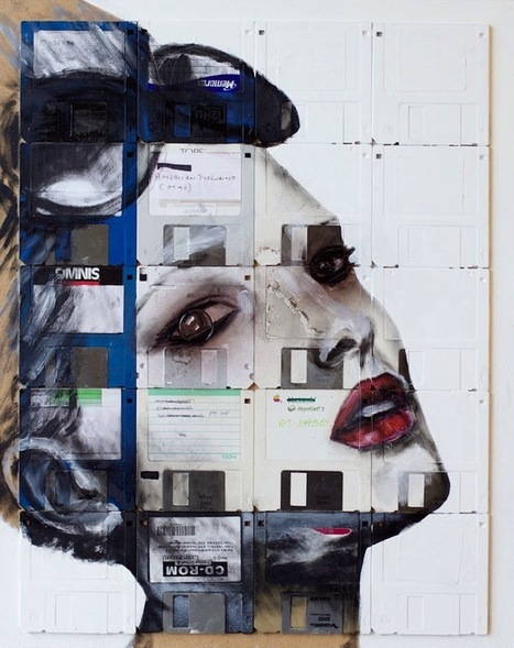 Portrait Paintings Across Rows of Floppy Disks - My Modern Metropolis | Creative_me | Scoop.it