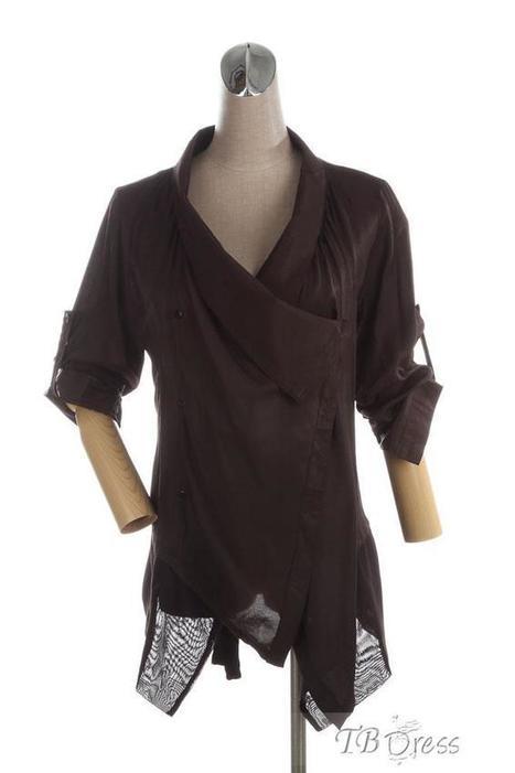 $ 35.99 TBdress Design High-grade New Arrival V-neck Tunic Pure Color Long Blouse | Gentleman | Scoop.it