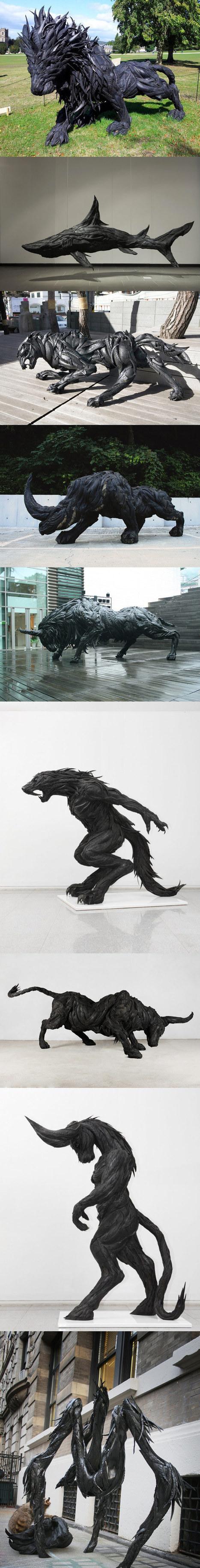 Magnifiques sculptures avec des pneus usagés | recyclage créatif | Scoop.it