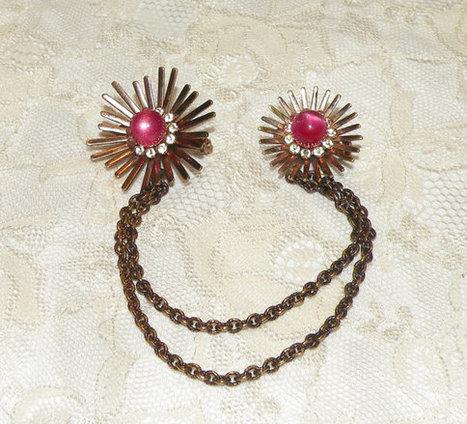 Vintage Jewelry Sweater Clip Guard Flower Motif Rhinestones Pink Moon Stone Sweater Pins | Sarees kurtis Jewellery | Scoop.it